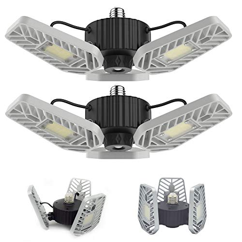 LZHOME 2-PACK LED Garage Lights, 6500Lumens E26/E27 Adjustable Trilights Garage Ceiling Light ,60W LED Garage Light, CRI80, 5000k Nature light,Garage Lights with Adjustable Panels(No Motion Activate)