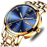 LIGE Watches Mens Waterproof Stainless Steel Analog Quartz Watches Military Chronograph Calendar Wrist Watch