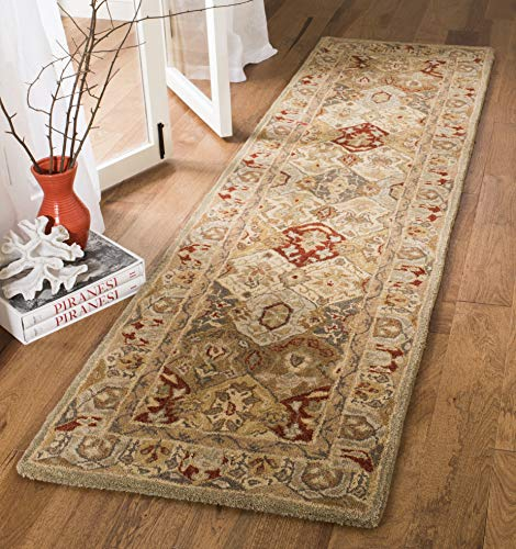 Safavieh Anatolia Collection AN530A Handmade Traditional Oriental Beige and Multi Wool Runner (2'3' x 8')