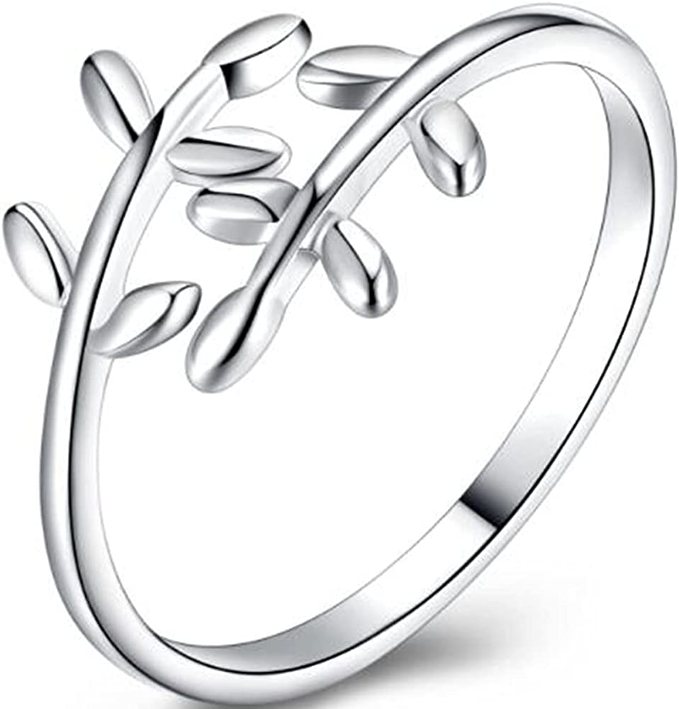 Stainless Steel Tree Leaf Style Statement Promise Anniversary Ring