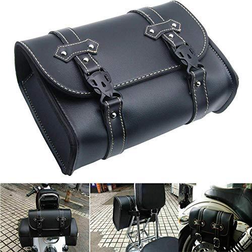 Maso Motorrad Satteltasche, Universal Gepäck PU Leder Tasche Aufbewahrung mit 2 Befestigungsgurten schwarz