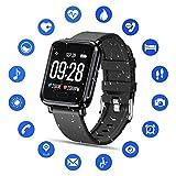 Tipmant Montre Connectée Femmes Homme Enfant IP68 Etanche Bracelet Connecté Écran Coloré Smartwatch avec Cardio Podometre Sommeil Réveil Notifications pour iPhone Huawei Samsung Xiaomi Sony LG (Noir)