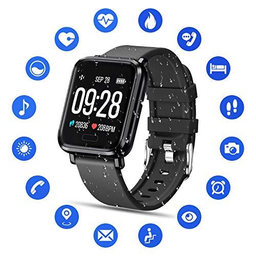 Tipmant Smartwatch Fitness Armband mit Pulsmesser Blutdruckmessung Fitness Tracker Wasserdicht IP68 Fitness Uhr Schrittzähler Pulsuhr Sportuhr für Damen Herren Kinder ios iPhone Android Handy Schwarz