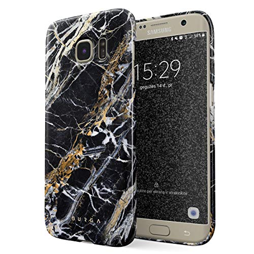 BURGA Hülle Kompatibel mit Samsung Galaxy S7 - Handy Huelle Schwarz Mit Gold Onyx Marmor Muster Black Gold Marble Mädchen Dünn Robuste Rückschale aus Kunststoff Handyhülle Schutz Case Cover