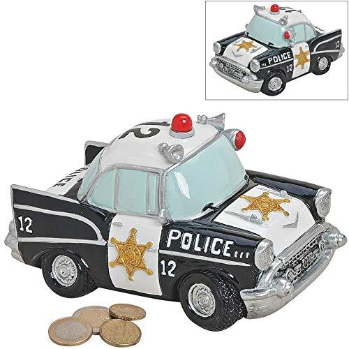 matches21 Spardose Sparbüchse Polizeiauto/US Police Car schwarz-weiß Sparschwein aus Polyresin 1 STK. 17x10x9 cm
