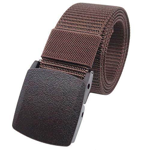 YEHMAN - Cinturón de cinturón militar de tela de nailon ajustable, 120 cm, hebilla de plástico sin níquel, antialérgico marrón 120 cm