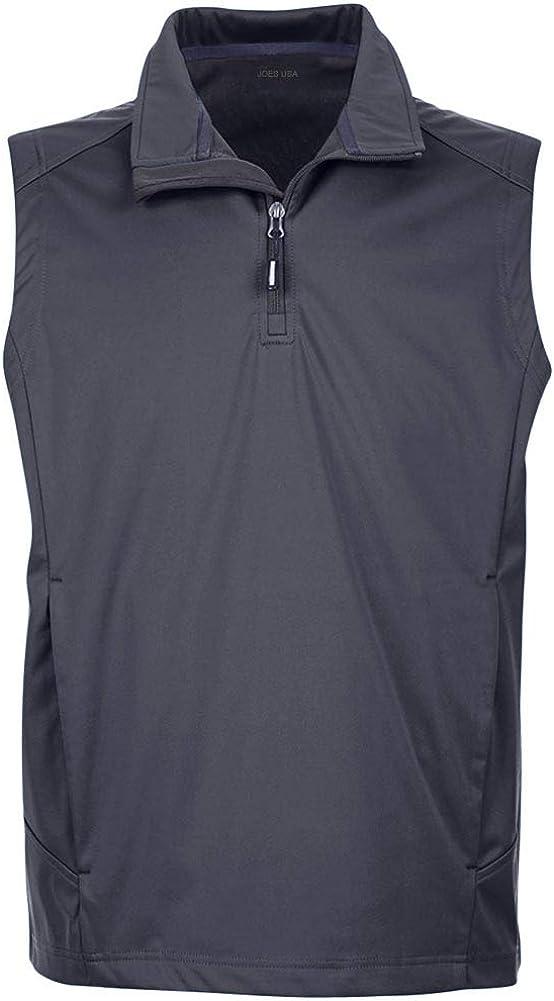 Joe's USA Men's Three-Layer Knit Tech-Shell Quarter-Zip Vest Sizes in S-5XL