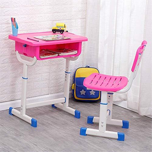 Zixin Estación de niños Escritorio Juego de sillas for niños Estudio Escritorio Silla Juego de Mesa inclinable Mesa y Silla for niños Arte de Mesas de Trabajo (Color: Rosa)
