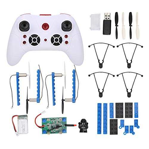 VGEBY DIY Building Block Drone, Mini Remote Control Building Block Aircraft DIY Building Blocks Quadcopter Giocattolo educativo