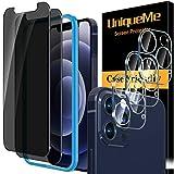 [3+2 Pack]UnqiueMe 2 Pack Panzerglas Sichtschutz Kompatibel mit iPhone 12 Pro (6.1Zoll) Schutzfolie & 3 Pack Kamera Schutzglas, Anti-Spy Folie [9H Festigkeit] Gehärtetes Glas Bildschirmschutz
