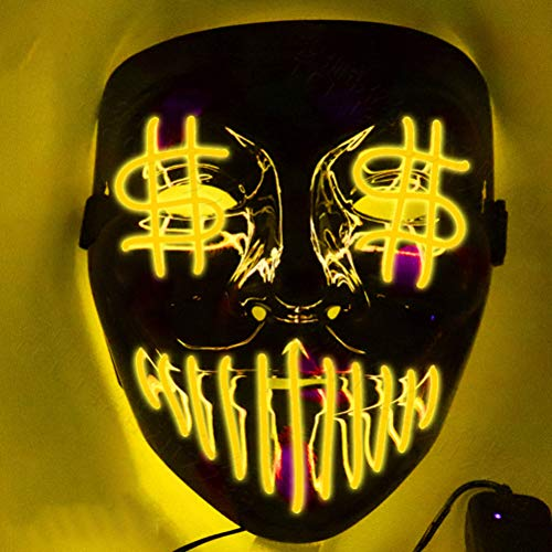 Halloween-masker Dollar Glow Masker Halloween LED Masker Light Up Party Maska Cosplay Mascara Horror Mascarillas Glow In Dark Mask geel