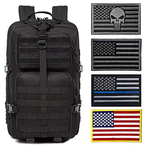 J.CARP Military Tactical Backpack Large Army 3 Day Assault Pack Molle Bug Bag Backpacks Rucksacks for Outdoor Sport Hiking Camping Hunting 40L Black with 4 Patches