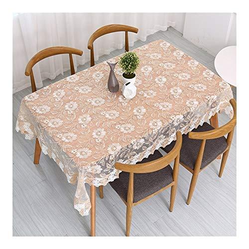 Dyf Nappe brodée rectangulaire - nappe florale Vintage nappe en dentelle nappe rose brodée, nappe cerise douce zxy (Color : Q, Size : 130 * 180cm)