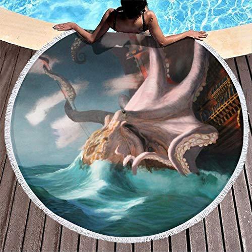 MINNOMO Toalla de playa redonda con diseño de barco y océano, con borlas, para verano, grande, para camping, color blanco, 150 cm