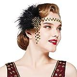 Coucoland Diadema con plumas y brillantes para mujer, estilo años 20, charlestón, Great Gatsby Dorado y negro Talla única