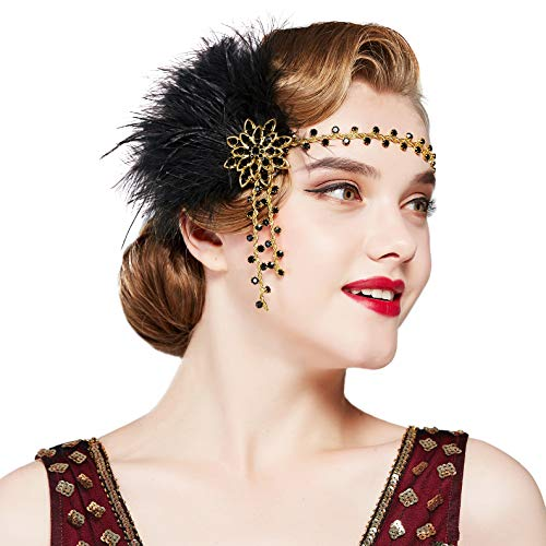 Coucoland 1920s Stirnband Feder mit Strass Damen 20er Jahre Stil Flapper Charleston Haarband Great Gatsby Damen Fasching Kostüm Accessoires (Gold Schwarz)
