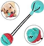 WYB Juguete para Perros Ventosa Juguete para Mascotas Multifuncional Juguete para morder Molar Juguete para Perro Mega Tug Juguete de Pelota de Goma Perro Limpieza de Dientes interactiva, Azul/Rojo