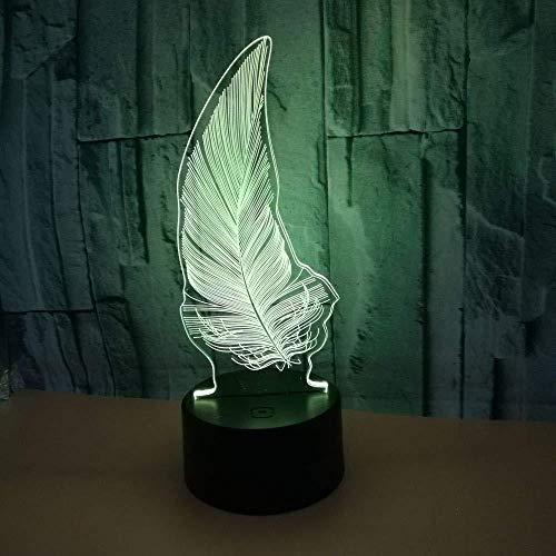 3D Luz De Noche Led Luz De Noche Led pluma De Habitación De Niños Lámpara De Mesa Los Mejores Regalos De Vacaciones De Cumpleaños Para Niños Con interfaz USB, cambio de color colorido