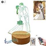16 colores Foto personalizada Luz de noche romántica Bluetooth Luz de cristal LED Luz Nocturna, Lámpara Infantil Mejor regalo para el día de Navidad, regalo de boda, Memorial(0 0)