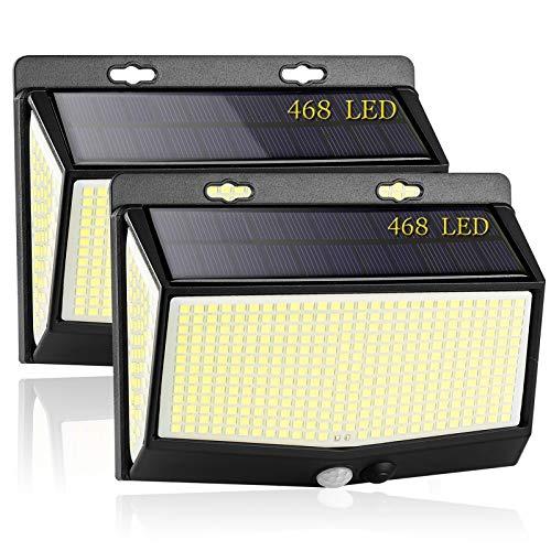 Luz Solar Exterior, [2021 Más Brillante Modelo 468 LED Luces Solares ] Gran Ángulo 270 °Iluminación Foco Solar con Sensor de Movimiento IP65 Impermeable 3 Modos Lámpara Solar para Jardín Camino (2 Pcs)