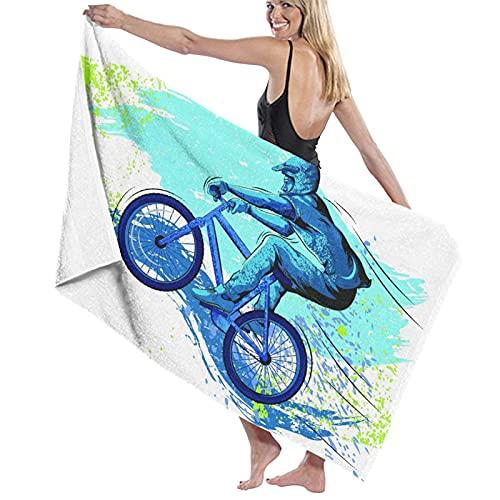 PATINISA Asciugamano da Spiaggia,BMX Of Sportsman Cycling Extreme Bike Freestyle Triathlon Bicicletta Velocità del ciclo,Microfibra Assorbimento dell'Acqua Telo da Spiaggia Telo Mare Viaggio Nuoto