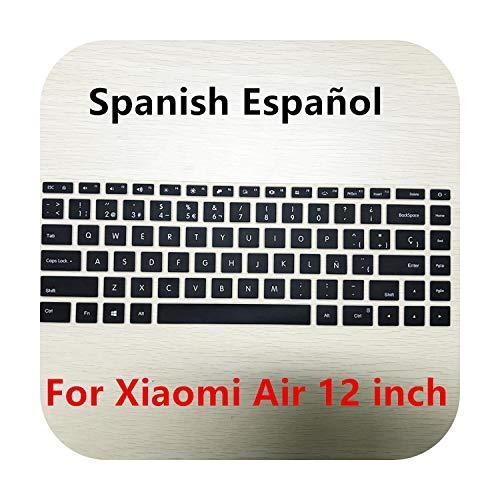 Funda de teclado de silicona rusa / Español para Xiaomi Mi Notebook Air 12.5 13.3 Pro 15.6 Autoadhesivo Protector Protector Protector Protector Protector de Pantalla Black SP 12 pulgadas