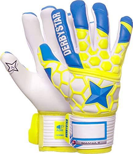 Derbystar Mamba II Torwarthandschuhe Unisex, blau gelb Weiss, 8