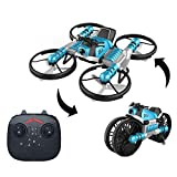 YEIBOBO ! 2-in-1 Transforming Motorcycle and 2.4G RC Quadcopter Drone with Altitude Hold Function (Blue)