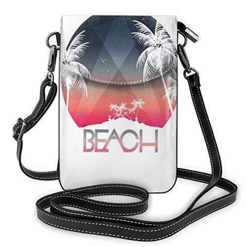 Vrouwen kleine telefoon purse crossbody, strandparty tropisch IJsland en palm boom met sterrennacht en vogels illustratie