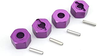 GDOOL 12mm Hex Wheel Hub Mount, Aluminum 7mm Thick with 2x10mm Stub Axle Pins for Traxxas 1/10 Slash 4x4 & HQ 727 RC Cars Replacement Upgrade Parts (4PCS Purple)