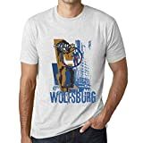 One in the City Hombre Camiseta Vintage T-shirt Gráfico WOLFSBURG Lifestyle Blanco Moteado