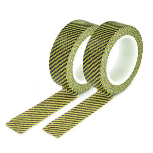 Set 2 yOUZiNGS washi couleur : rose et motif à rayures vert-tape washi tape ruban rouleaux yOUZiNGS marque