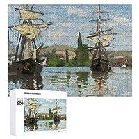 INOV ルーアンでセーヌ河で乗るクロード・モネ 船 ジグソーパズル 木製パズル 500ピース キッズ 学習 認知 玩具 大人 ブレインティー 知育 puzzle (38 x 52 cm)
