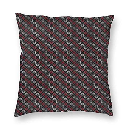 QUEMIN for Girls Diagonal Pattern with Geometric Elements Stylized Square Shapes Throw Pillow Cases for Sofa Bedroom Pillow Covers Gift Household Pillowcase 18' X 18' (Only Pillowcase)