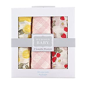 crib bedding and baby bedding hudson baby unisex baby cotton muslin swaddle blankets, strawberry lemon 3-pack, one size