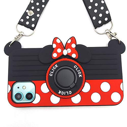 for iPhone 12 Case Cute iPhone 12 Pro Case Minnie Mouse 3D Carton Camera with Ring Grip Holder Kickstand Lanyard Teens Girls Women Silicone Rubber Phone Case Cover for iPhone 12 Pro -6.1' (12 Pro)