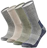 SOX TOWN Merino Wool Moisture Wicking Outdoor Hiking Hiker Cushion Crew Socks for Men 4 Pack(Mixcolor L)
