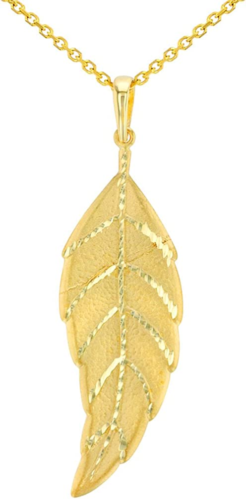Solid 14K Yellow Gold Textured Pendant Leaf Free shipping anywhere in the nation Necklace Bohemian Max 44% OFF
