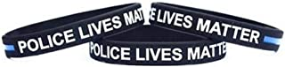 LF Mens Womens Silicone Police Lives Matter Thin Blue Line Wristband,Police Officer Awareness Rubber Sentiment Policeman's Bracelet Band for Law Enforcement Supporter Protecter