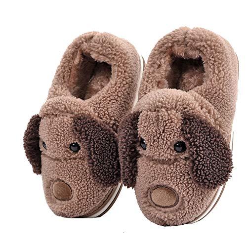 LANFIRE Kinder und Erwachsene Baumwolle Hausschuhe Hund Haus Hausschuhe Plüsch Hausschuhe Tier Hausschuhe und Winter warme Hausschuhe (Brown, 42)