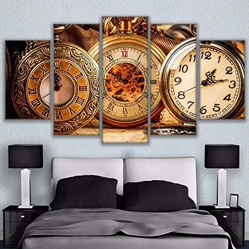 ZPDWT Cuadro sobre Lienzo 5 Piezas Impresión En Lienzo Relojes de Bolsillo Vintage De Pintura Póster De Arte Moderno Oficina Sala De Estar O Dormitorio Decoración del Hogar Arte De Pared 150 * 80 CM