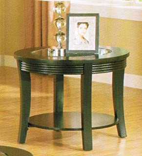 Poundex End Table with Glass Top in Espresso Finish