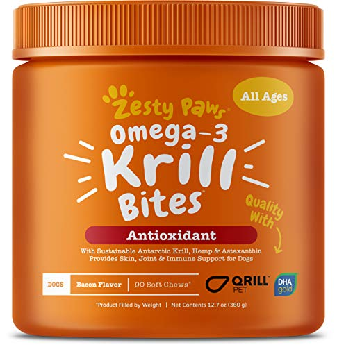 Zesty Paws Omega-3 Krill Oil Bacon Flavor Bites Dog Supplement