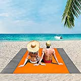 BREENHILL Beach Blanket,83'x79' Waterproof Sand Proof Blanket,Portable Picnic Blanket for 2-7 Adults Lightweight for Travel(OrangeGray)