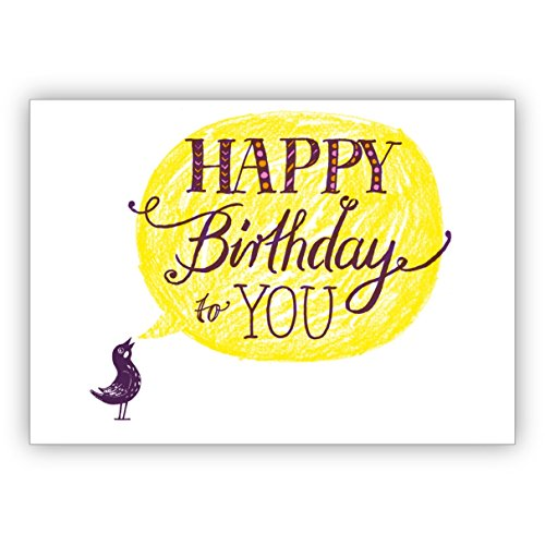 In 5-delige set: Sonnige verjaardagskaart met vogels en hand Lettering: Happy Birthday to you