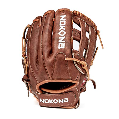 NOKONA W-V1200H Handcrafted Walnut Fastpitch Baseball Glove - Left Hand Throw, H-Web for Infield and Outfield Positions, Adult 12 Inch Mitt, Made in The USA