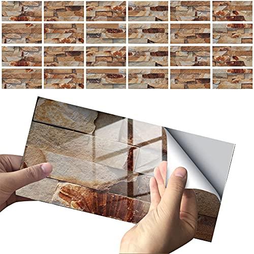 24 Piezas Pegatinas de Azulejos Autoadhesivos, Etiqueta de La Pared 3D, Pegatinas de Azulejos de Mosaico a Prueba de Agua para Cocina y Baño Decoración, 10X20cm (Set B)