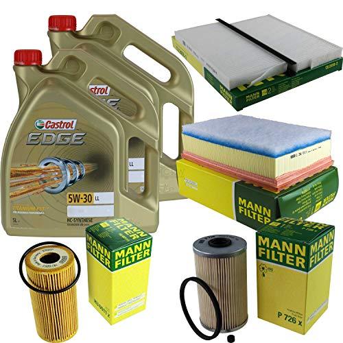 Preisvergleich Produktbild Filter Set Inspektionspaket 10 Liter Motoröl Castrol EDGE Titanium FST 5W-30 LL MANN-FILTER Innenraumfilter Kraftstofffilter Luftfilter Ölfilter