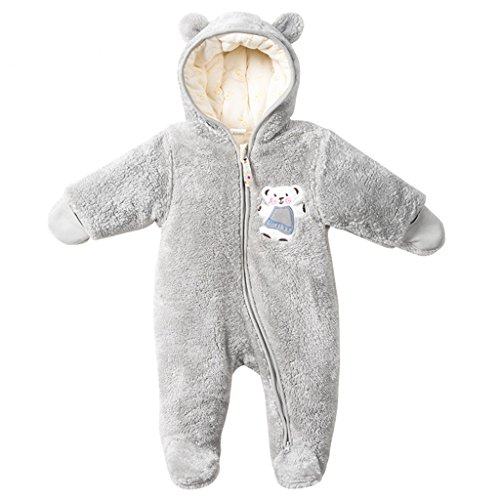 Baby Overalls mit Kapuze Schneeanzüge Fleece Strampler Spielanzug Footed Jumpsuit Winter Outfits, Grau 0-3 Monate