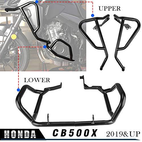 LoraBaber Motorrad schwarz Motorschutzblech Sturzbügel Verkleidung Rahmenschutz oben unten für H-o-n-d-a CB500X CB 500X CB 500X 2019 2020 2021 (Oben + Unten)